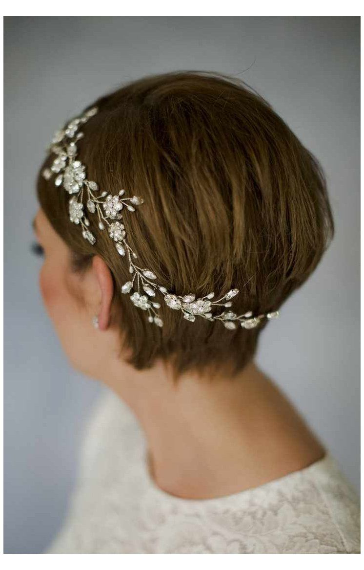 Pin By Paige Marie On Bridal Hair And Makeup In 2020 Short Hair Bride Crystal Wedding Hair Accessories Short Wedding Hair