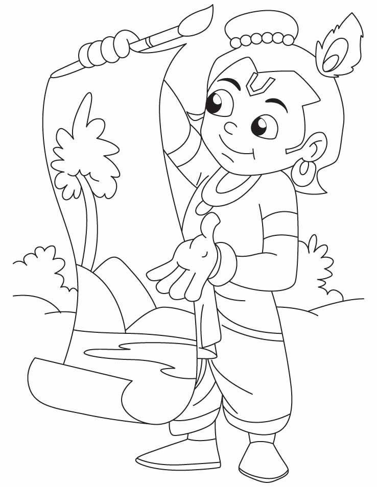 Download Or Print This Amazing Coloring Page Krishna The Great Artist Doing Painting Coloring Page Superhero Coloring Pages Free Coloring Pages Coloring Pages