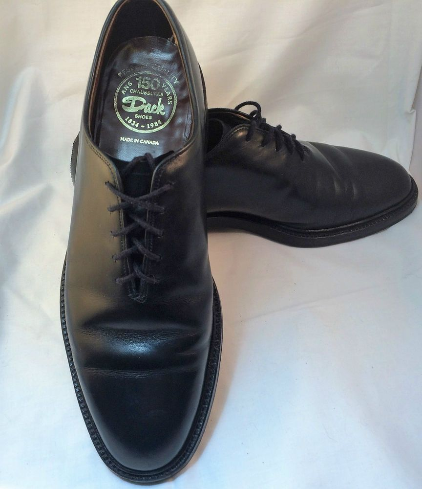 Vintage Dack Shoes Bespoke Quality Made In Canada Biltrite Extra Quality 9 5 D Mens Black Leather Dress Shoes Men Shoes