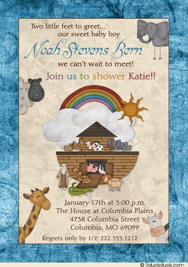 Baby Noahu0027s Ark Shower Invitation   Blue Boy Cute Animals