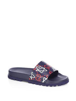 fd29947df GUCCI Guccighost Pursuit Treck Slides. #gucci #shoes #slides | Gucci ...