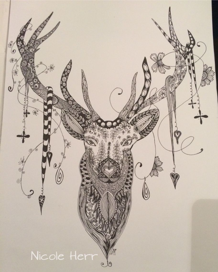 zentangle hirsch deer drawing nicole herr weihnachten. Black Bedroom Furniture Sets. Home Design Ideas