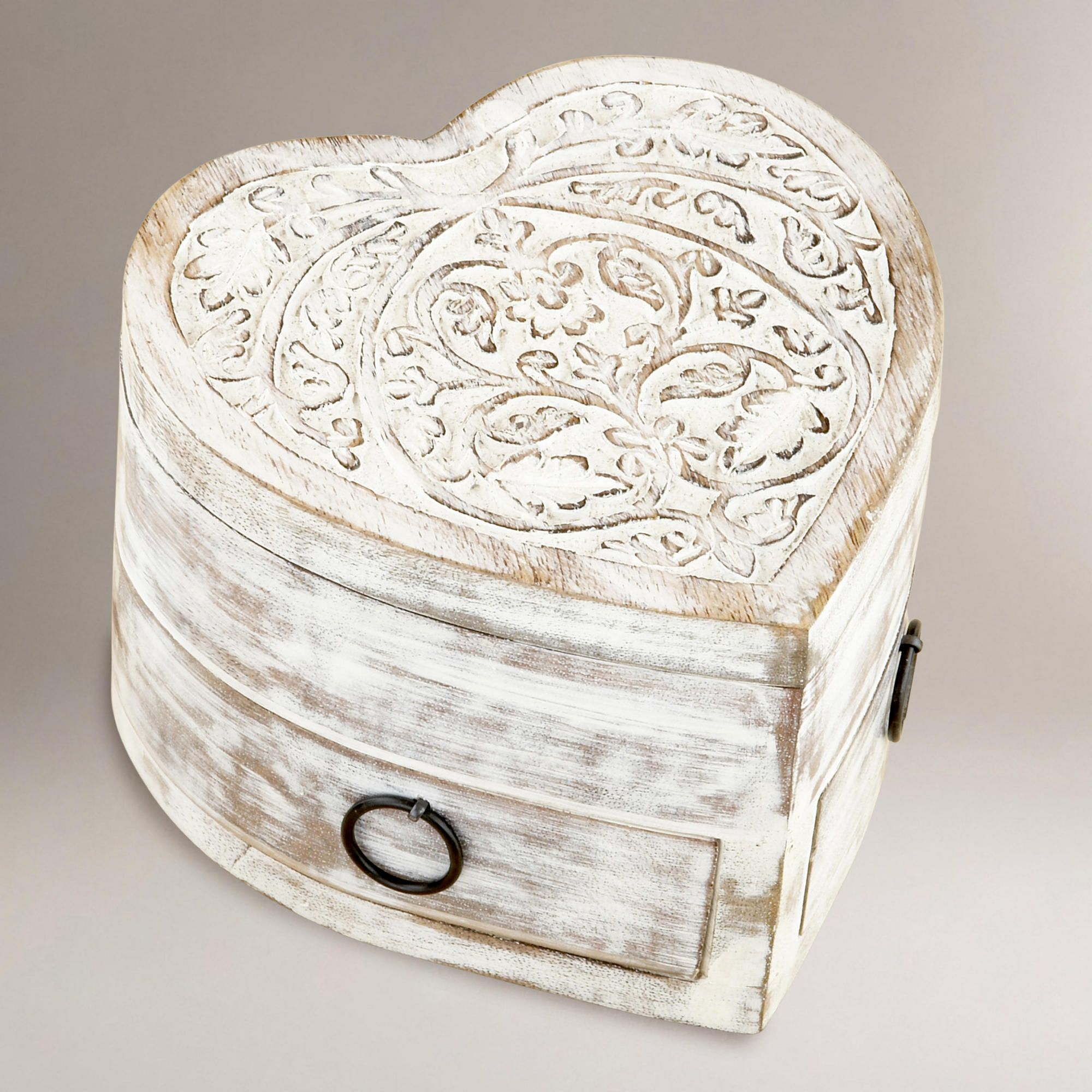 World Market Jewelry Box Inspiration White Helena Heart Jewelry Box With Drawers  World Market  Hearts Inspiration Design