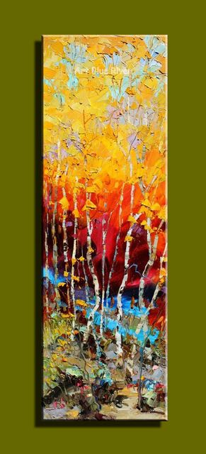 Abstract modern large canvas wall art Hand painted vertical tree oil ...