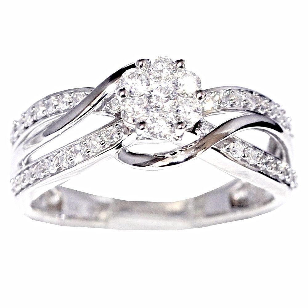 10k White Gold 1 2 Cttw Diamond Split Shoulder Bridal Wedding Ring Beautiful Wedding Rings Wedding Rings Unique Bridal Wedding Rings