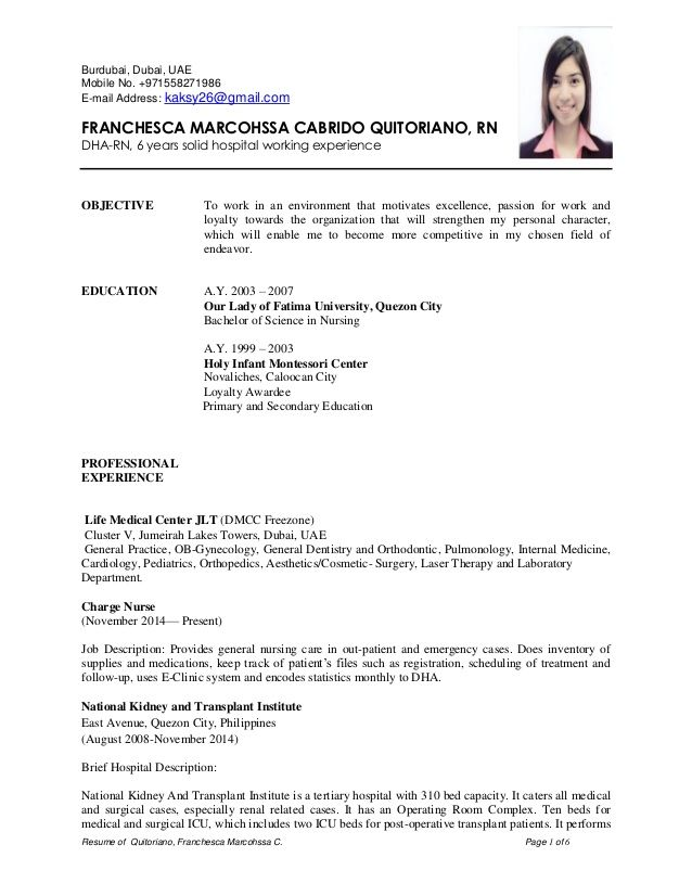 Resume Of Quitoriano Franchesca Marcohssa C Page 1 Of 6 Burdubai Dubai Uae Mobile No 971558271986 E Job Resume Examples Job Resume Template Job Resume