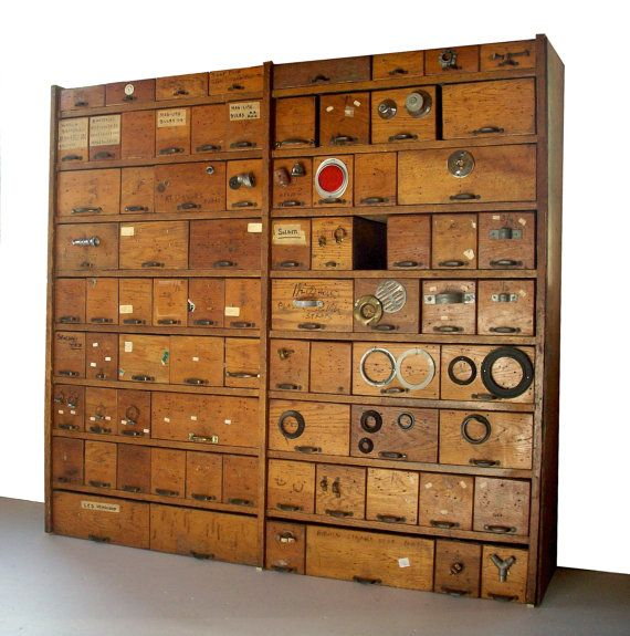 Vintage Hardware Store Bins and Shelving Cabinet / Oak - Vintage Hardware Store Bins And Shelving Cabinet / Oak House +