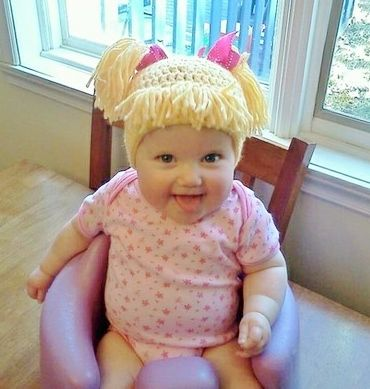 Cabbage Patch Knit Hat with fringe and pigtails. Cabbage patch doll for  Halloween. I m pinning this so Haley will see it because I think the baby  needs to ... a4607966f84