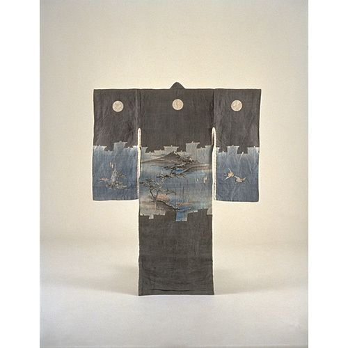 incorrectly titled but appears Miyamairi kimono, with Scenes of Mt. Fuji and Tago-no-ura in Sailboat-Silhouette. Meiji Period, Kyoto National Museum