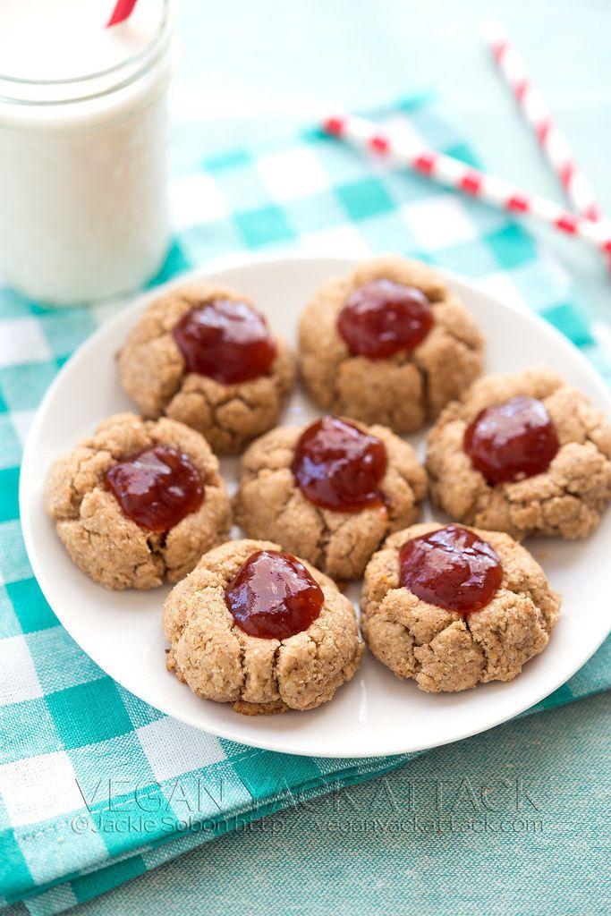 Almond Butter Jam Vegan Thumbprint Cookies Gluten Free Gluten