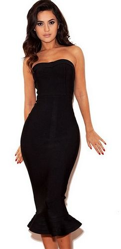 My Mind On Your Body Black Bandage Strapless Fishtail Ruffle Zip ...