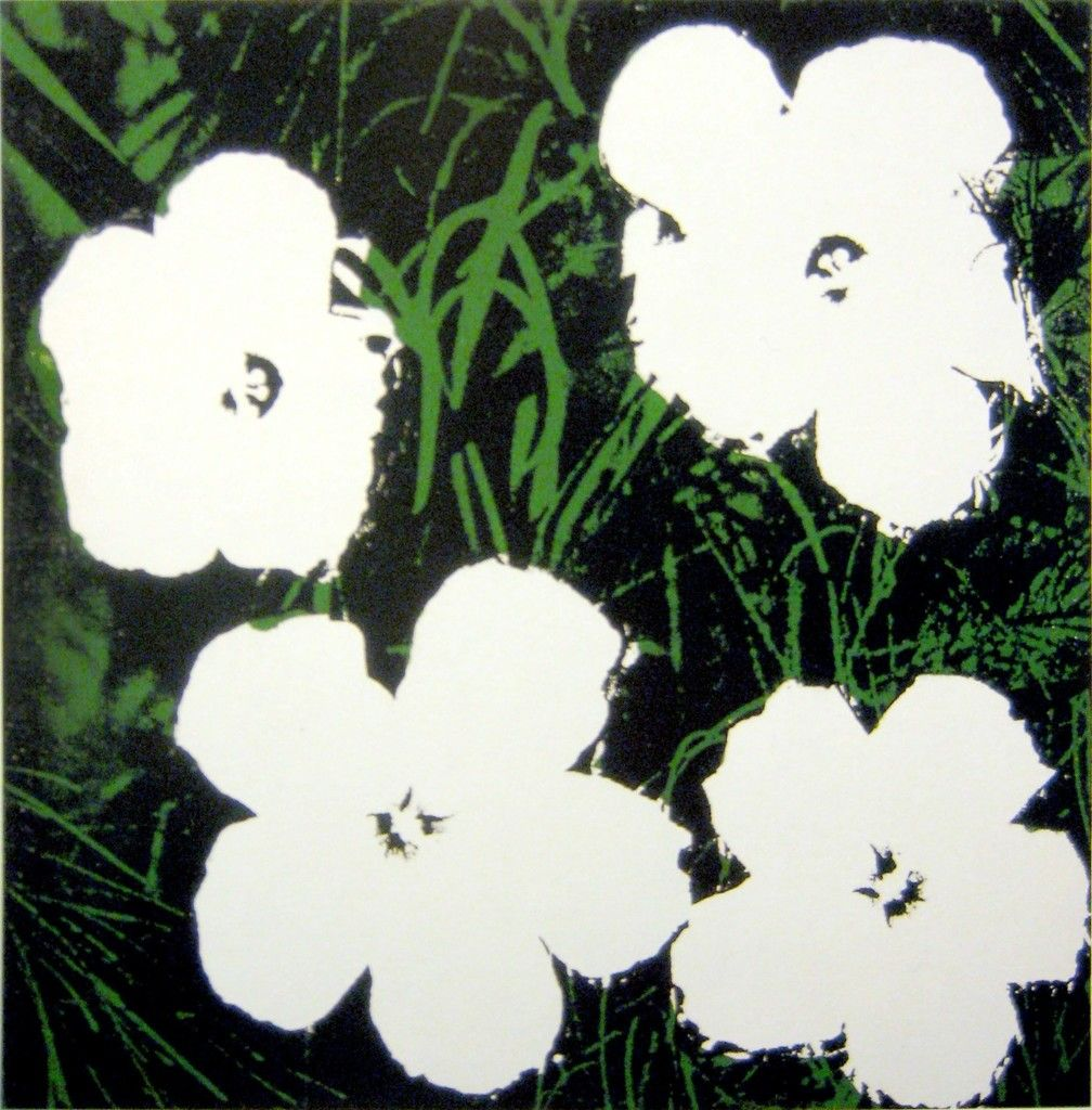 Flowers Four White Flowers On Green Black Background Art