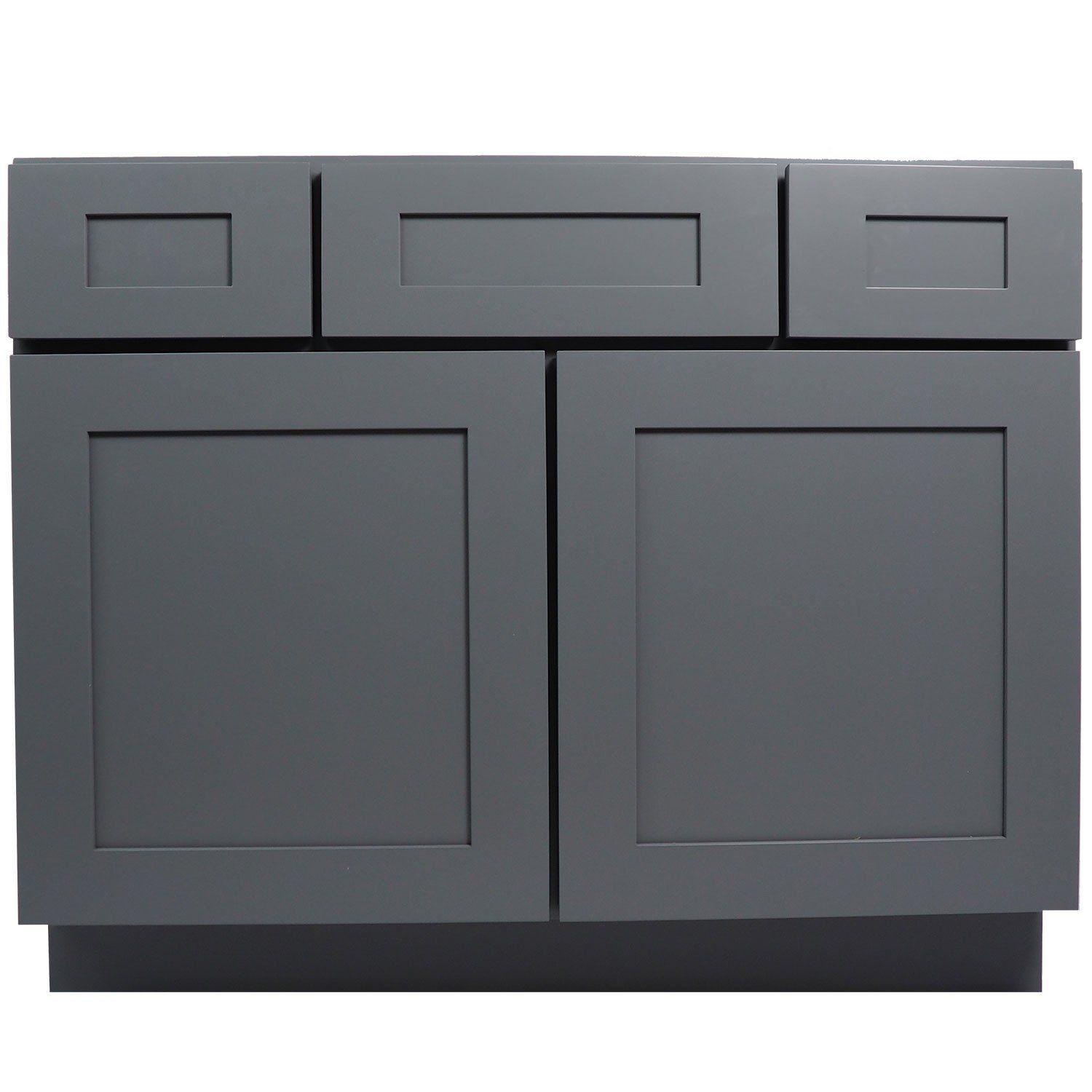 42 Inch Bathroom Vanity Cabinet In Solid Wood Shaker Gray With Soft Close  Drawers Are Doors