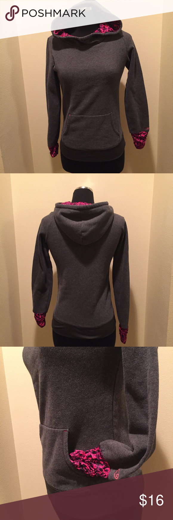 Champion hooded sweatshirt Gray hooded sweatshirt from Champion .  Size XL(14-16) youth.  Pre owned, good condition, pet/smoke free home Champion Tops Sweatshirts & Hoodies