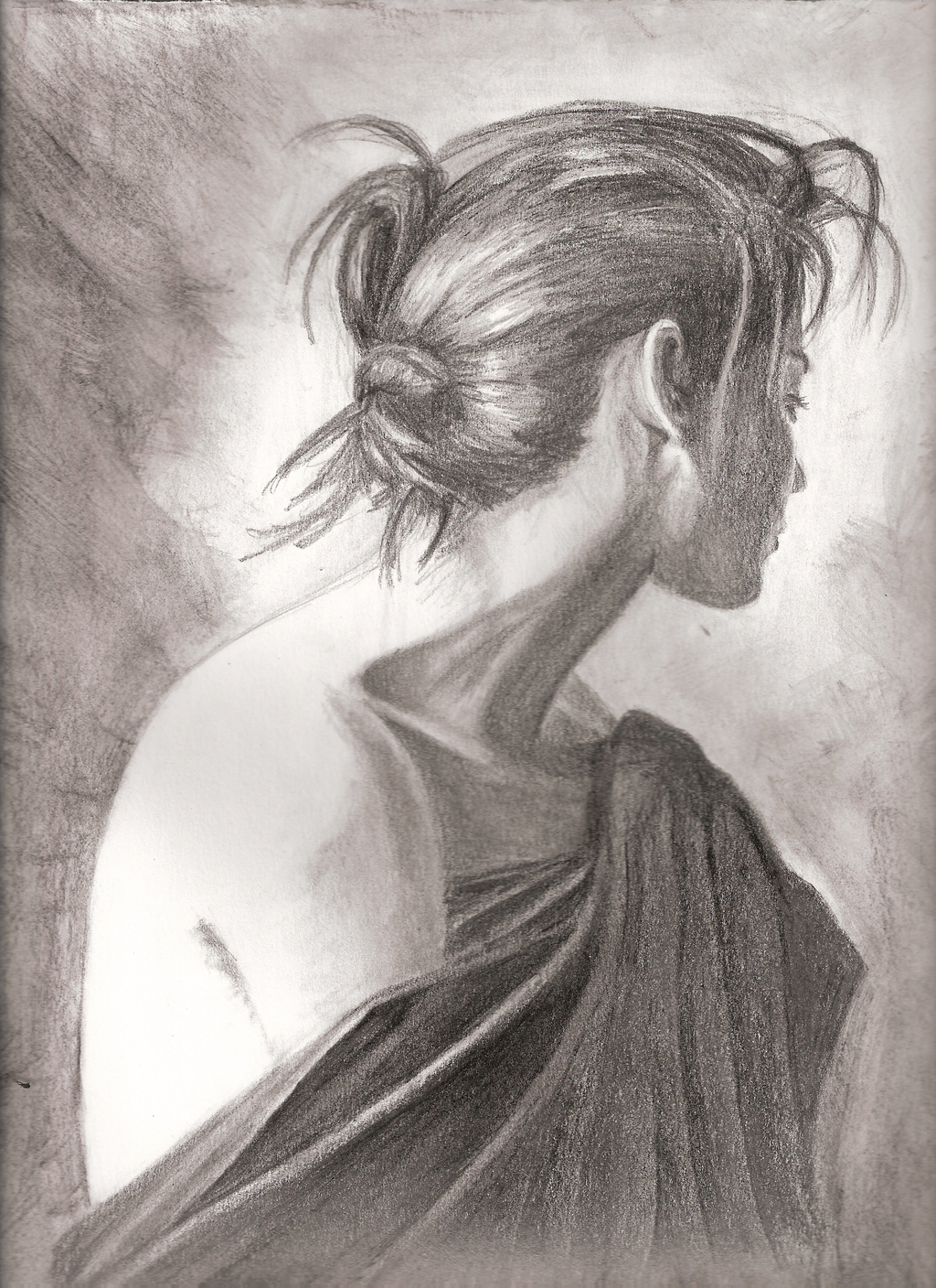 Pencil sketch sad woman by barianfr