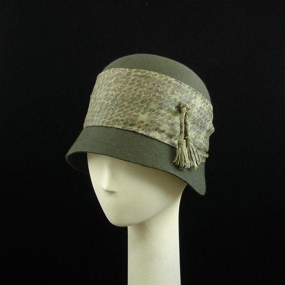 New Cloche Hat for Women 1920's Fashion Hat in Muddy Green Felt w Leather Trim $260.00