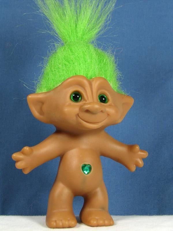 Ace Novelty Troll Doll 5 1 2 Tall Green Hair And Eyes Heart Shaped