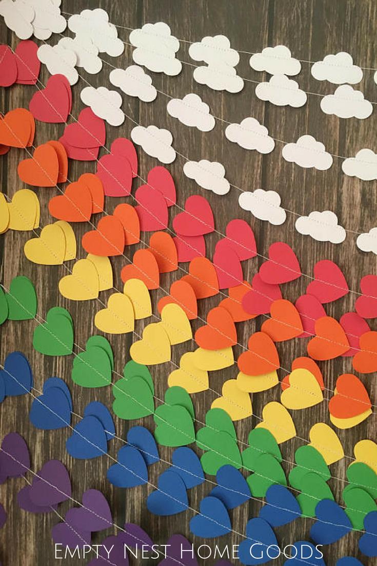 rainbow garland backdrop, unicorn party ideas, rainbow