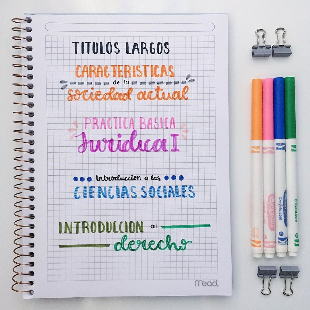 """𝗠𝗮𝗯𝗲𝗹 on Instagram: """"Títulos largos  Me pidieron que les enseñara tipos de títulos largos para sus apuntes, y estos son algunos 💛  #study #studygram…"""""""