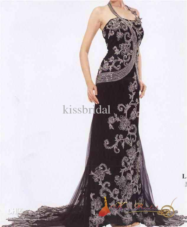 Cheap Prom Dresses - Discount Best Selling Floor Length Sequin Classic Black Embroidery Online with $182.04/Piece | DHgate...different but I like :)