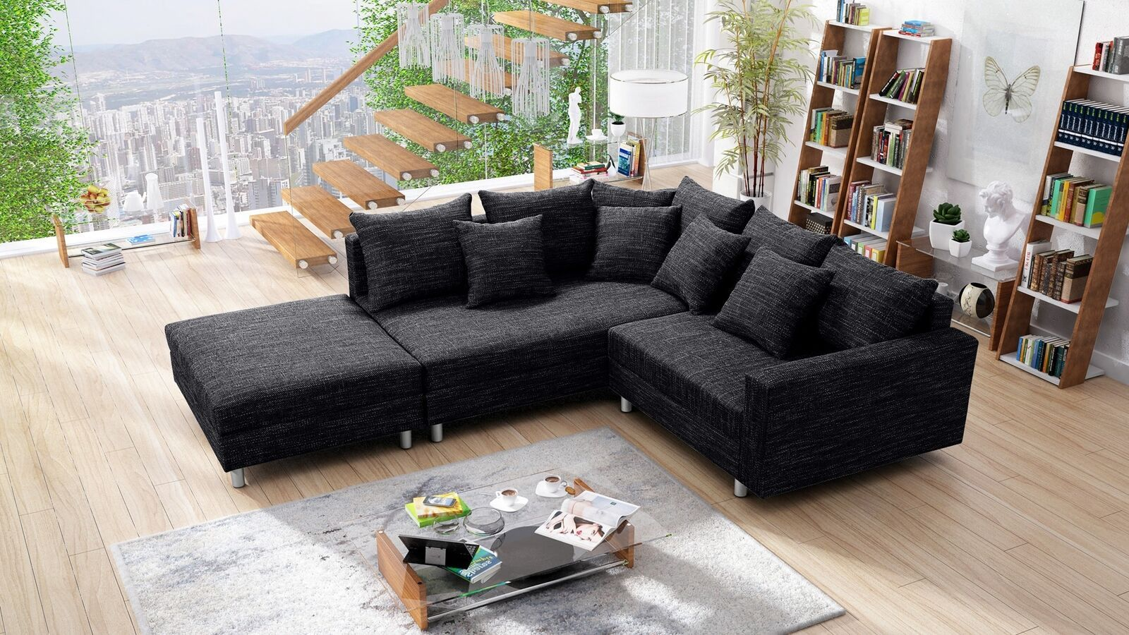 Modernes Sofa Couch Ecksofa Eckcouch In Gewebestoff Schwarz Mit Hocker Minsk L Sofas Sofas Outdoor Sectional Sofa Sectional Sofa Home Decor