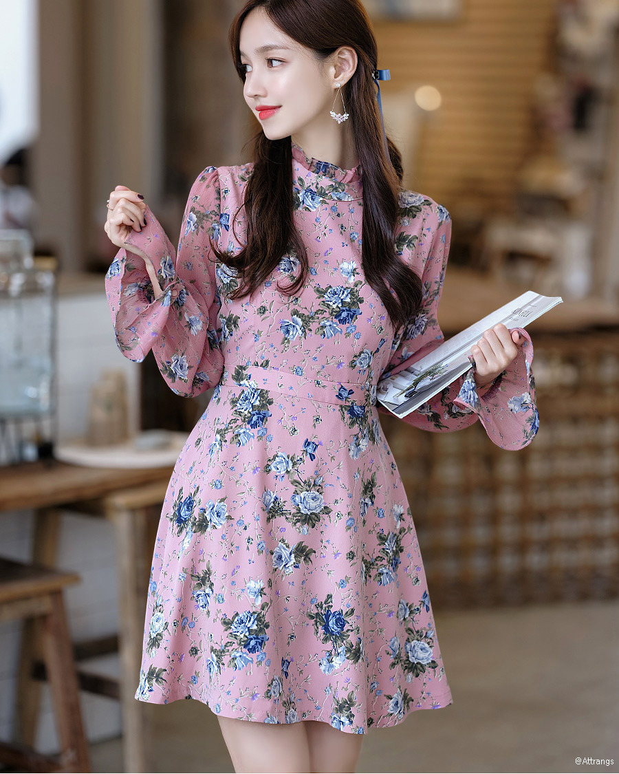 Floral High Neck Chiffon Dress  Korean fashion dress, Printed