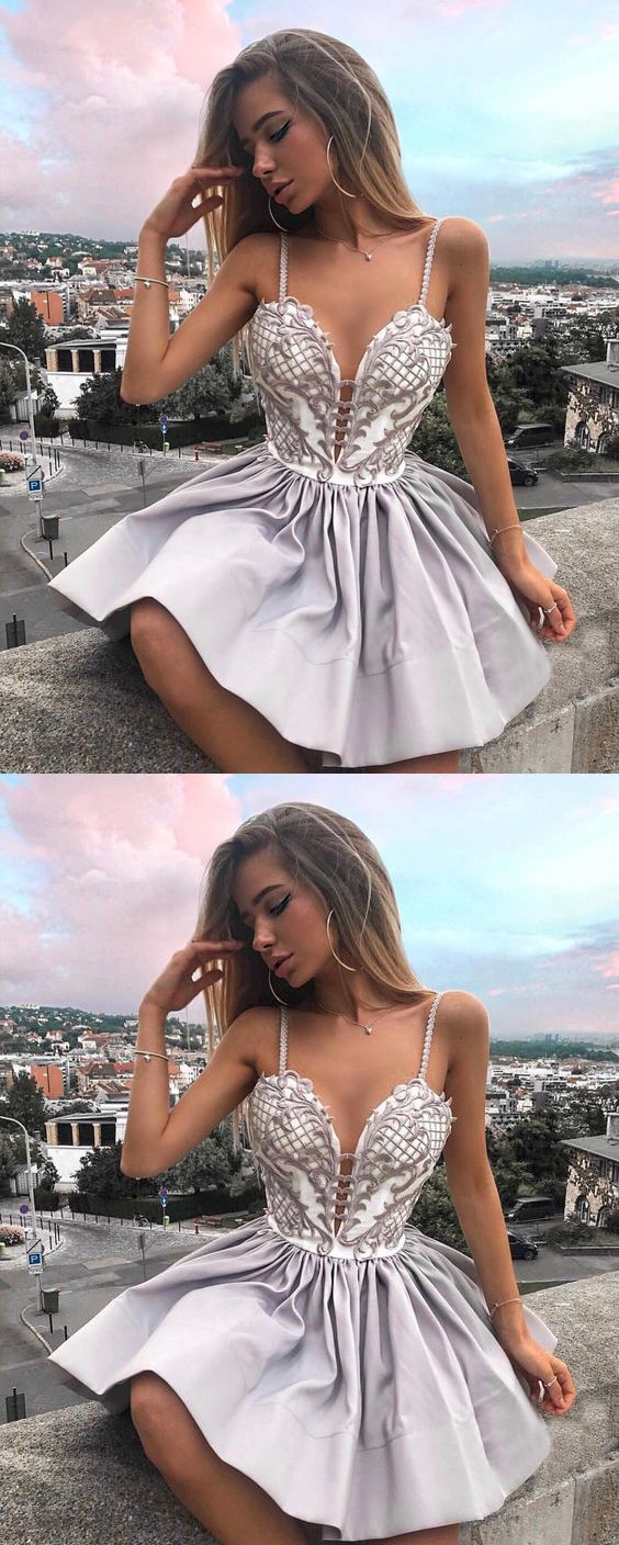 Cute a line v neck spaghetti straps lace short homecoming dresses