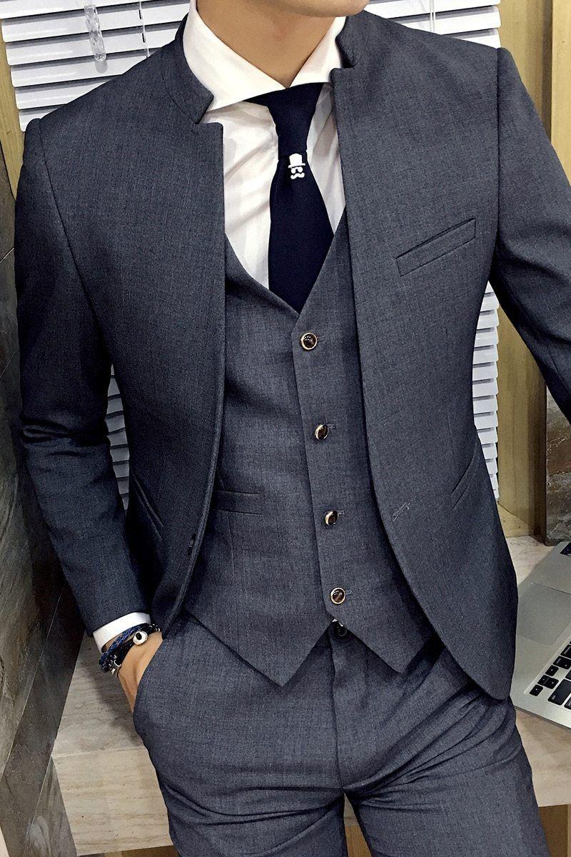Mandarin Collar Suit Jacket Unique Designer Slim Fit Blazer