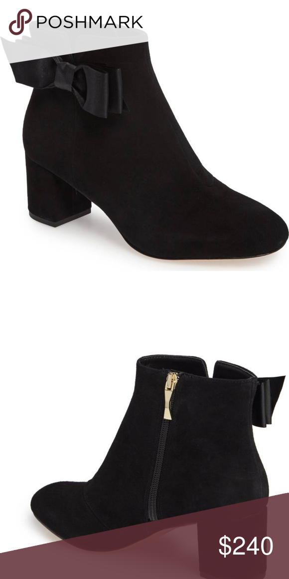dc0a5b59f1392 Kate Spade of New York Black Suede Langley Boot 8 New in Box A tonal  grosgrain