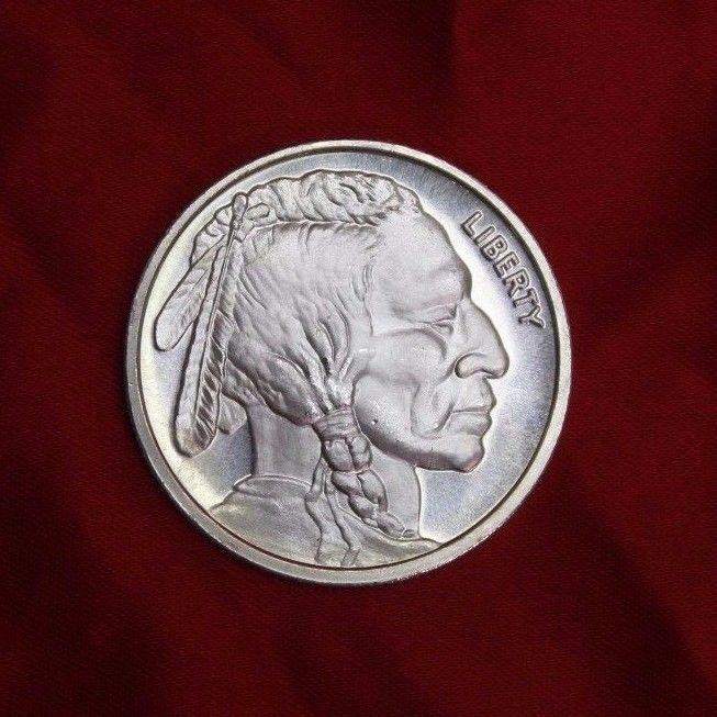 Large 1 Ounce Buffalo Indian Head Liberty 1 Oz 999 Fine Silver Round Rare Fine Silver Silver Rounds Indian Head
