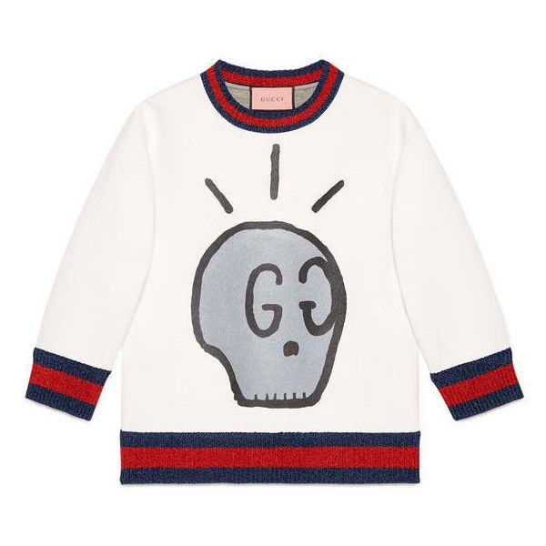4d7c9078d Guccighost Sweatshirt ($1,100) ❤ liked on Polyvore featuring tops, hoodies,  sweatshirts, white, cotton sweatshirts, jersey top, cotton 3/4 sleeve tops,  ...