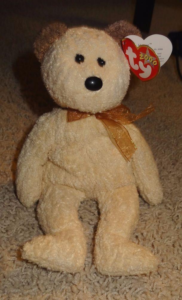 ba5a9ba9eef TY Beanie Baby Huggy Bear PE Pellets Light Tan Brown 2000 - TH  Ty ...