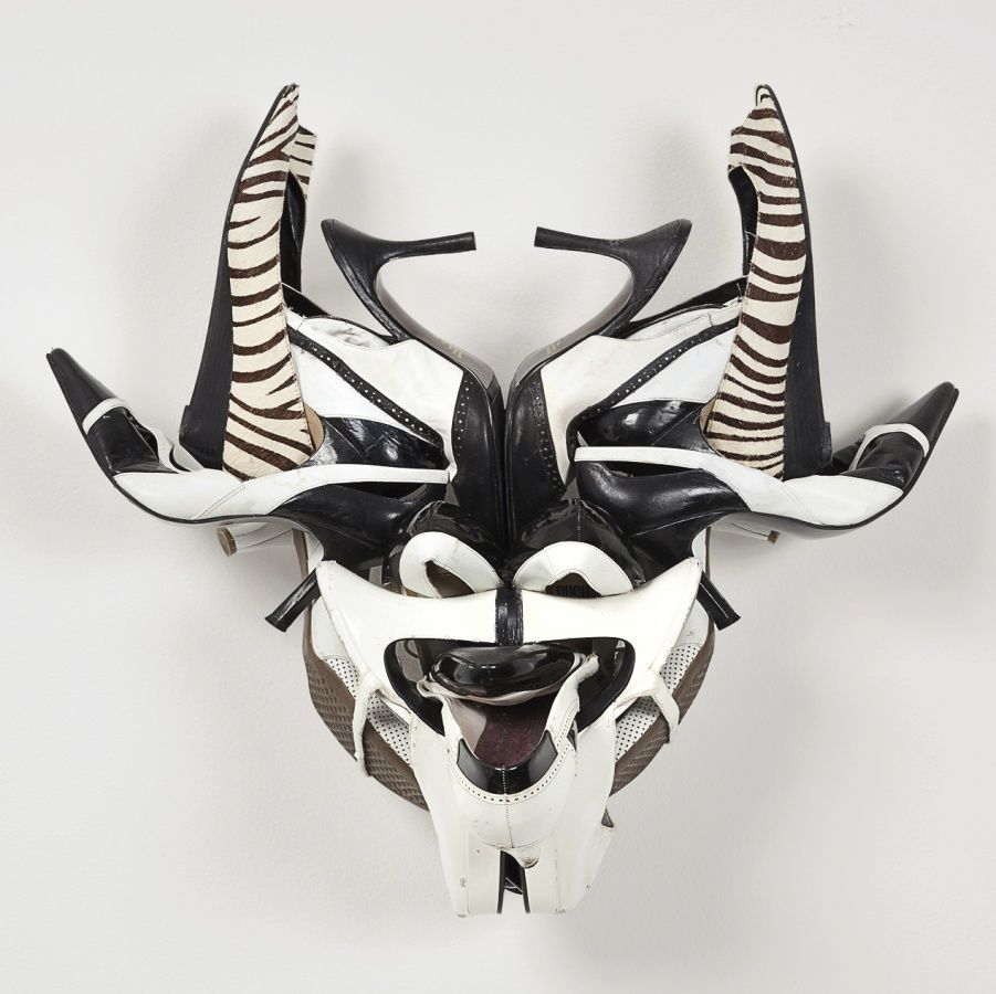 Willie Cole Zebratown Mask 1 2013 leather shoes, stainless steel ...