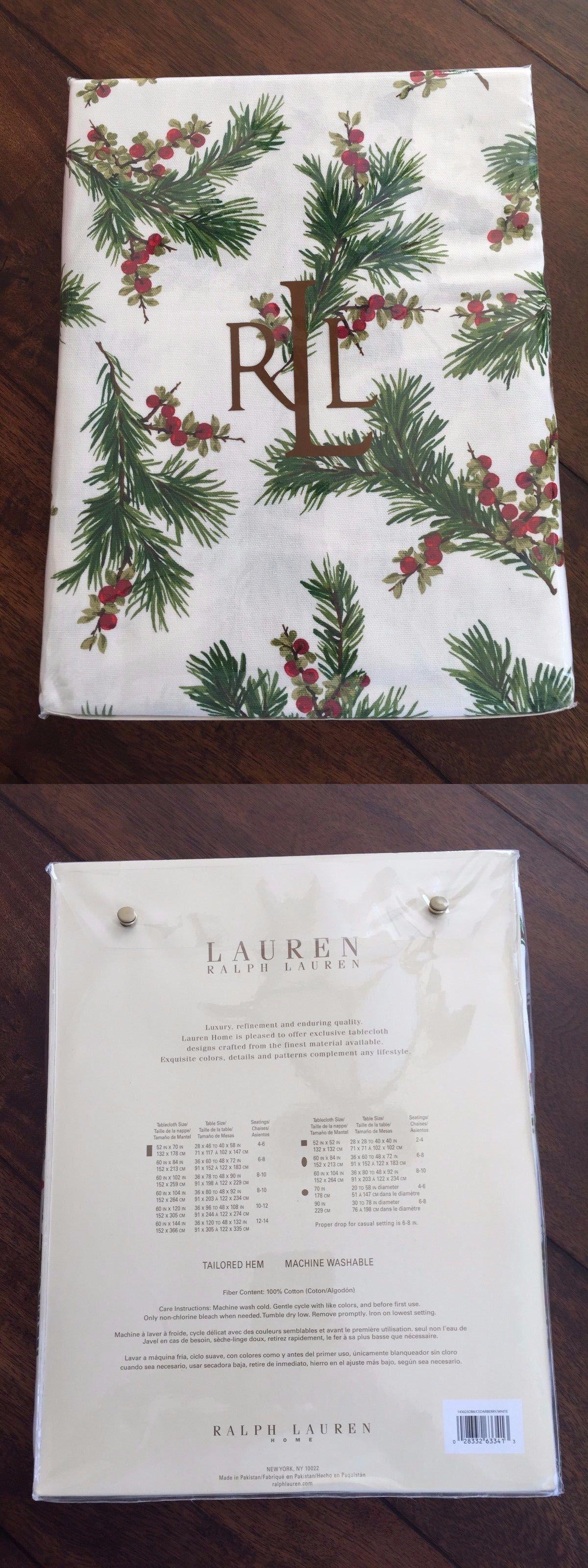 Good Ralph Lauren Table Linens Part - 12: Table Linen Sets 71238: Ralph Lauren Cedarberry Red White Green Tablecloth  60 X 84 Seats