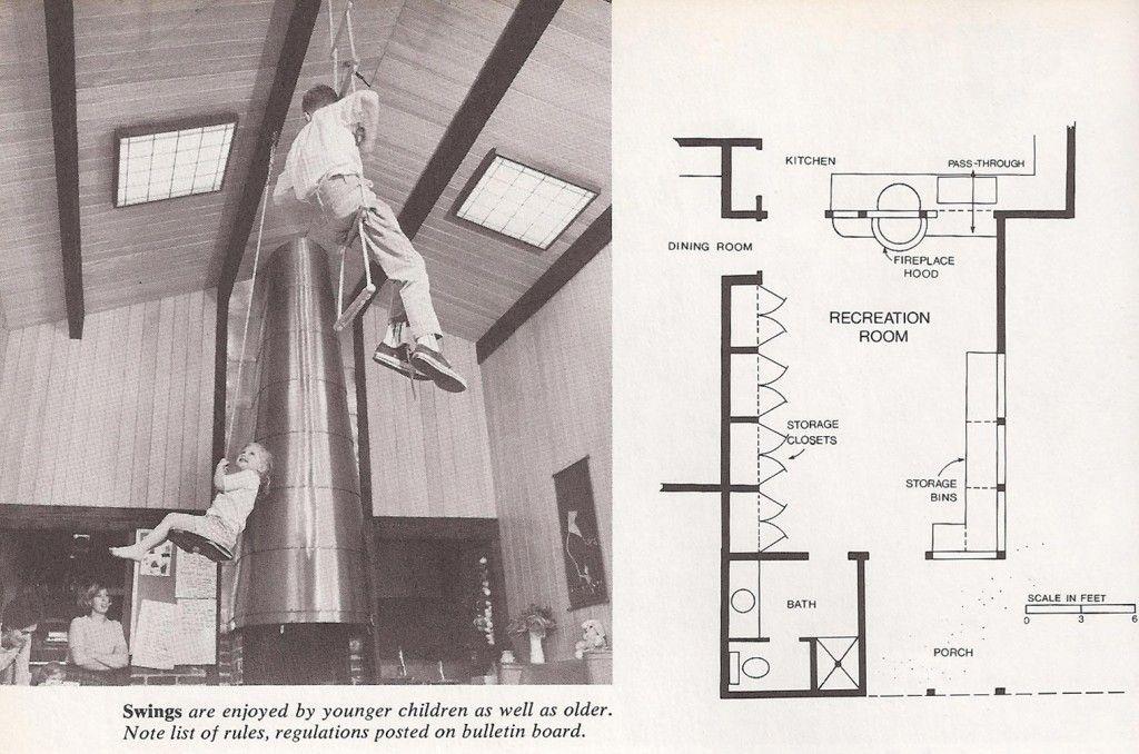 Espacio de juegos en vivienda. Fuente: Sunset Ideas for Recreation Rooms. Lane Books, Menlo Park, California. 1972.