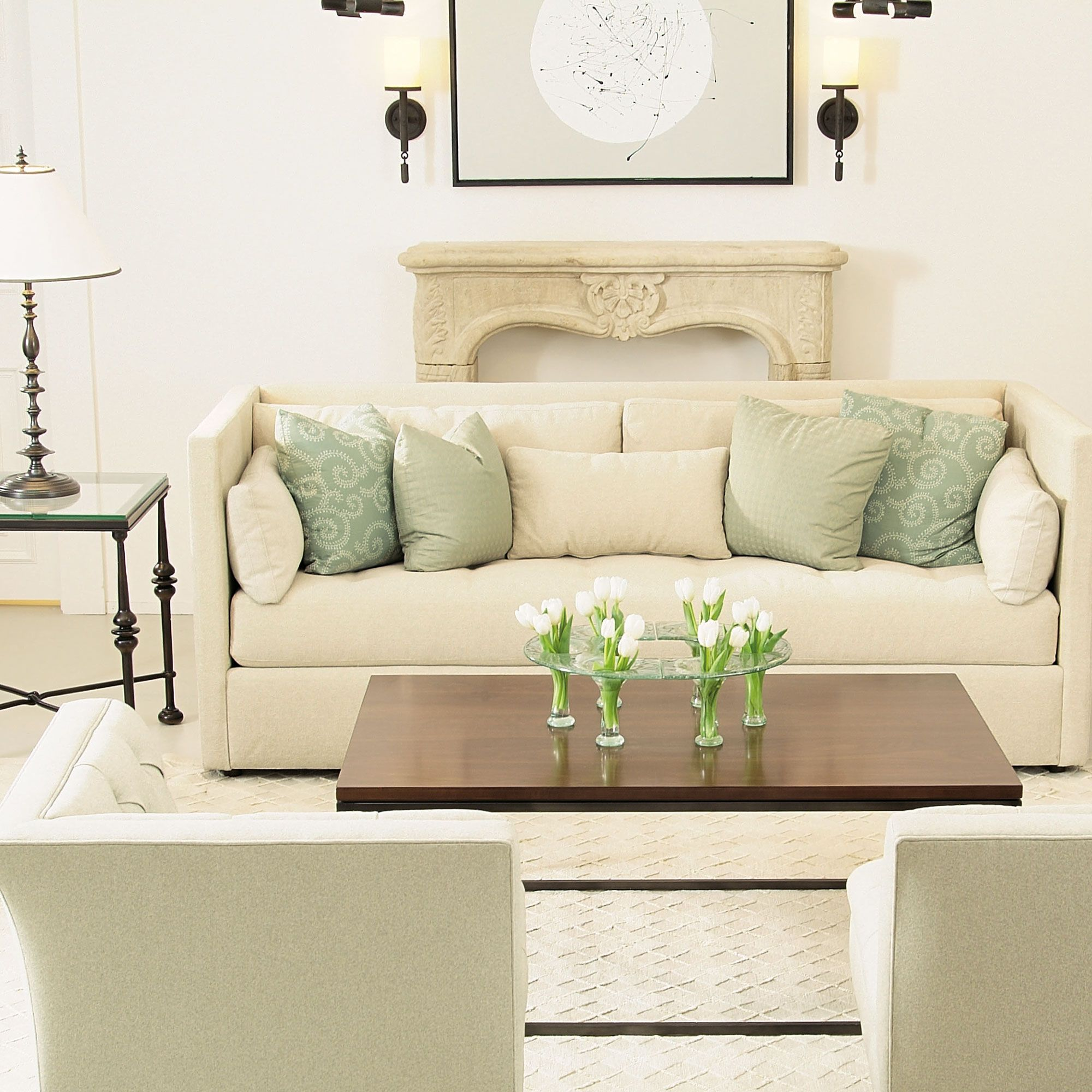Bernhardt | Airy living room - cream sofa with aqua pillows - pale ...