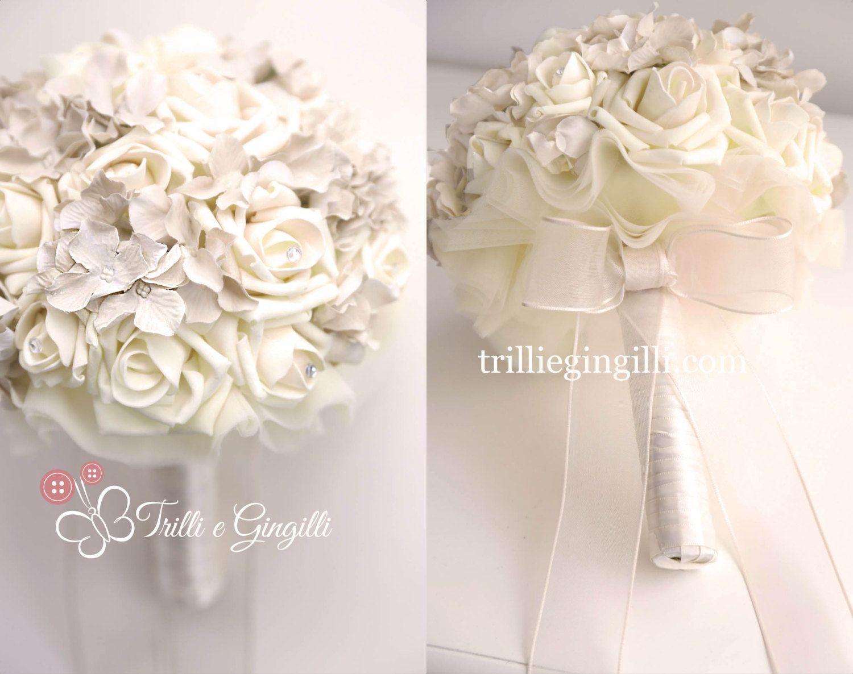 Bouquet Sposa Gioiello.Bouquet Sposa Gioiello Di Rose E Ortensie Con Di Trilliegingilli