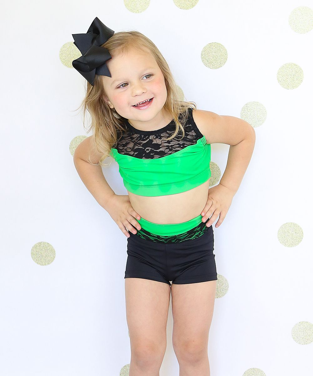86768e55450 Kelly Green & Black Lace Crop Top & Shorts - Toddler & Girls ...