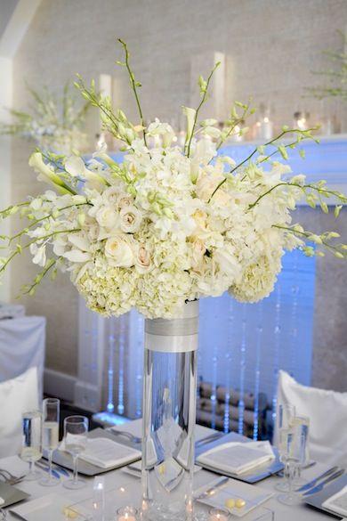 white hydrangea and orchid reception wedding flowers, wedding decor, wedding flower centerpiece, wedding flower arrangement