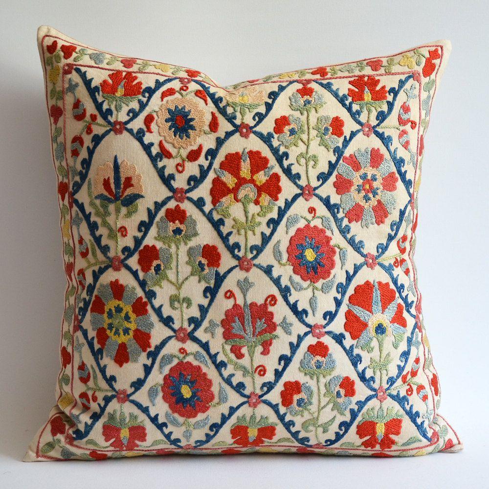 Modern Embroidered Pillow : Sukan / Vintage Hand Embroidered Silk Suzani Pillow, Organic Modern Bohemian? rinku ...