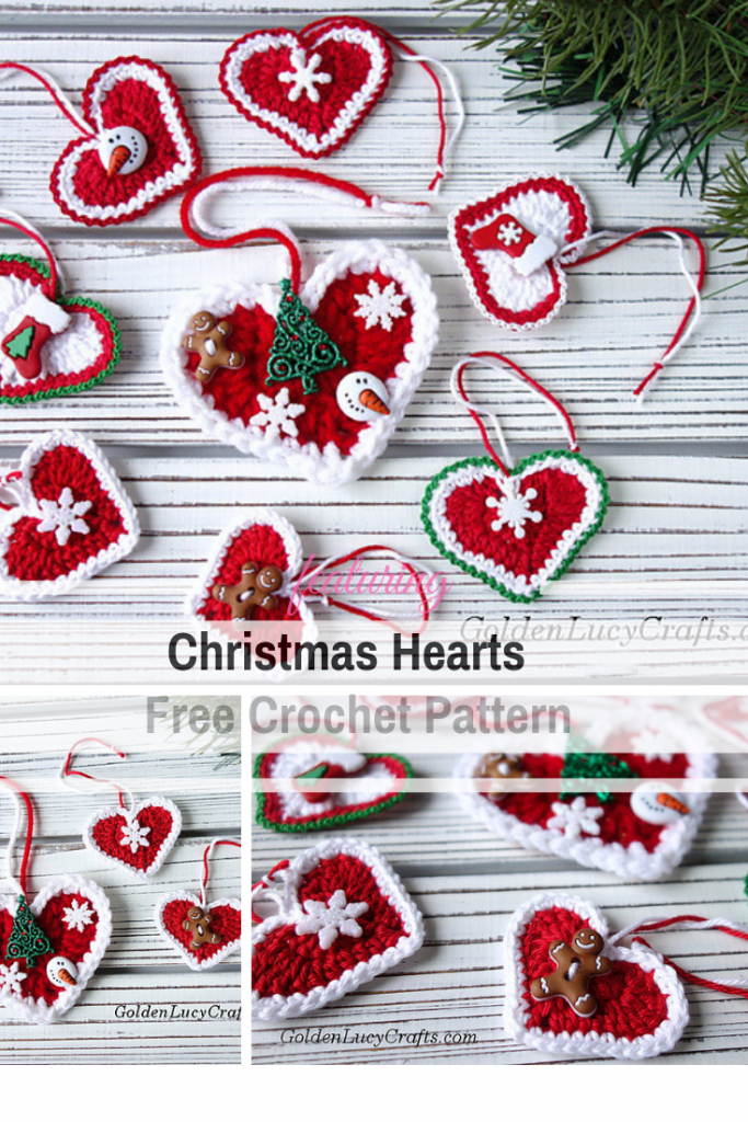 Cute Hearts Free Christmas Ornament Crochet Patterns For An Ultra Stylish Holiday - Knit And Crochet Daily