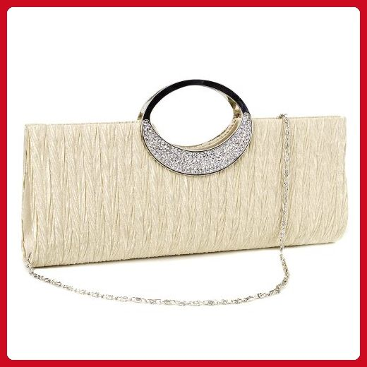 Anladia Rhinestone Ring Handle Sa Pleated Clutch Prom Evening Satin Look Handbag Bags