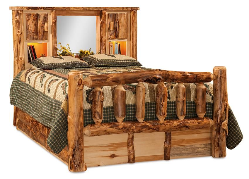 Amish Rustic Log Bookcase Bed With Spindle Footboard Rustic Log Furniture Log Bed Bookcase Headboard