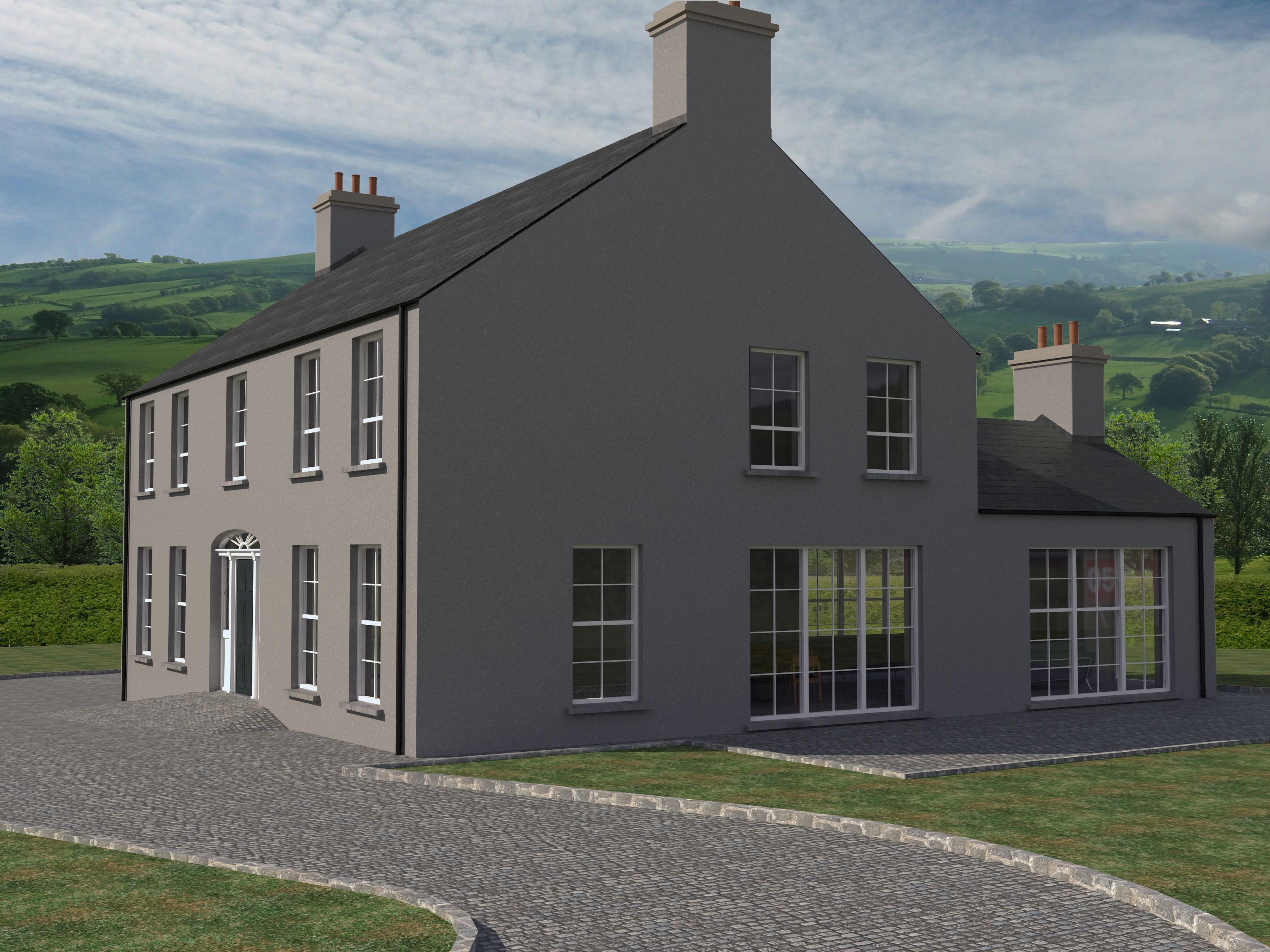 Traditional New Build Neo Georgian Rural Irish House Georgian