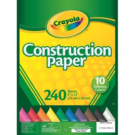 Crayola 240 Sheets Construction Paper, Multicolor Construction - construction take off spreadsheets