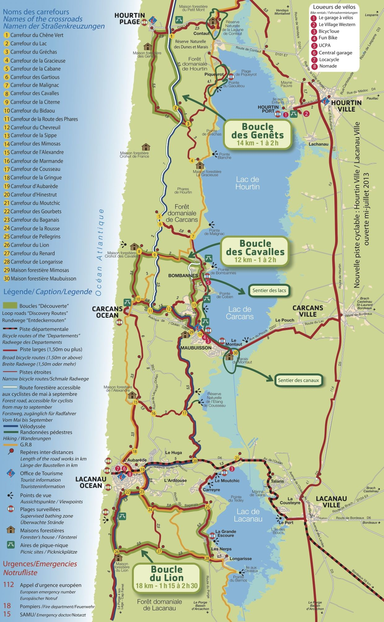 Bike route map of Lacanau France Getaways Pinterest