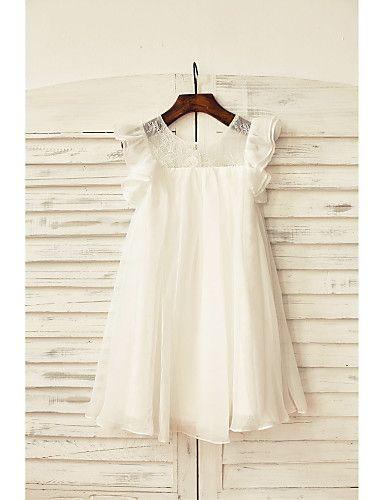 09bfd01c3 Sheath/Column Knee-length Flower Girl Dress - Chiffon / Lace Short Sleeve  2016 - $49.99