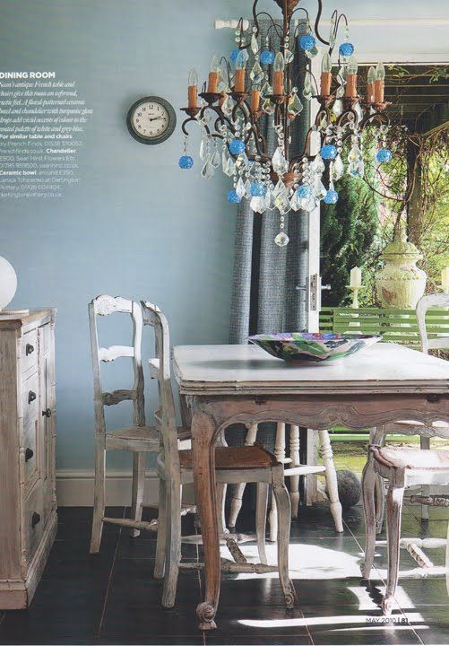 French Blue Dining Room British Homes Gardens Vis Rose Et
