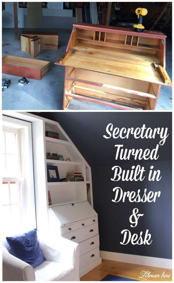 DIY Built in Dresser from a Secretary