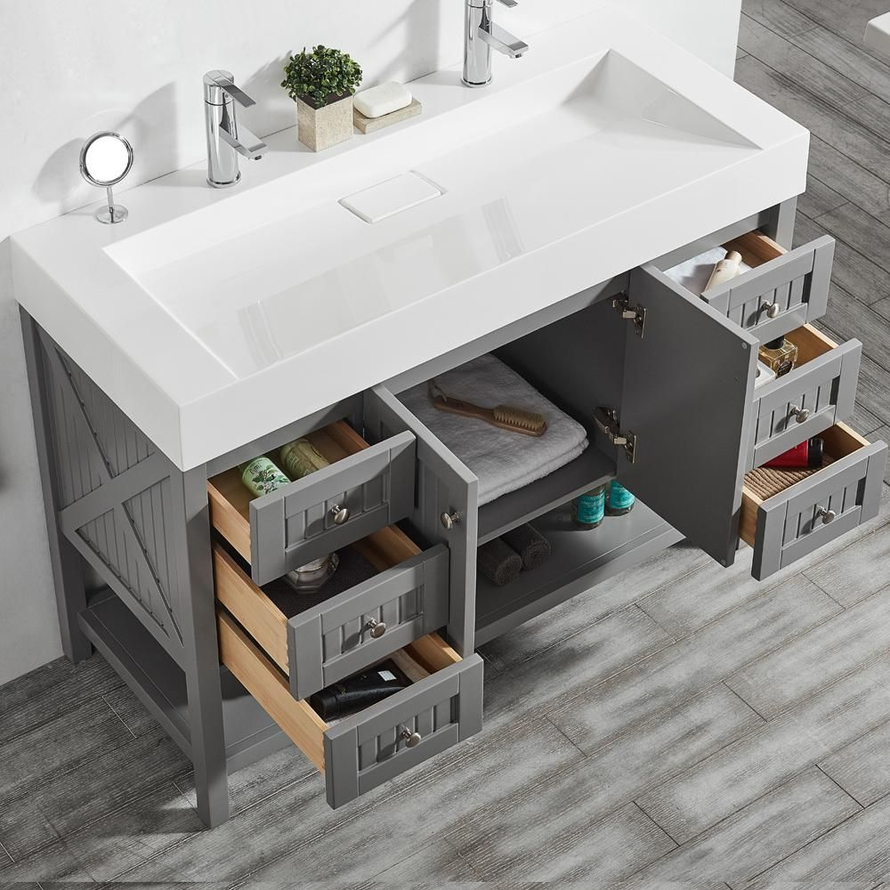 Pavia 48 In W X 20 In D Vanity In Grey With Acrylic Vanity Top In White With White Basin 755048 Gr W Bathroom Vanity Double Vanity Bathroom White Vessel Sink